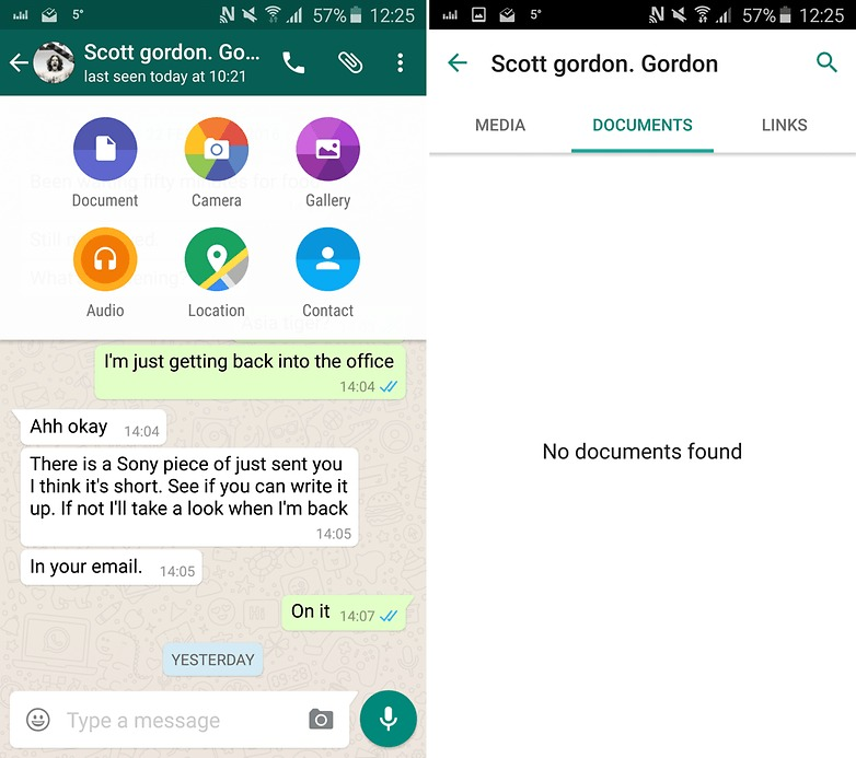 обмен файлами в whatsapp ограничен (слева), но можно поделиться любым файлом через ссылку cloudsend (справа)