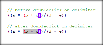 doubleclick on delimiter