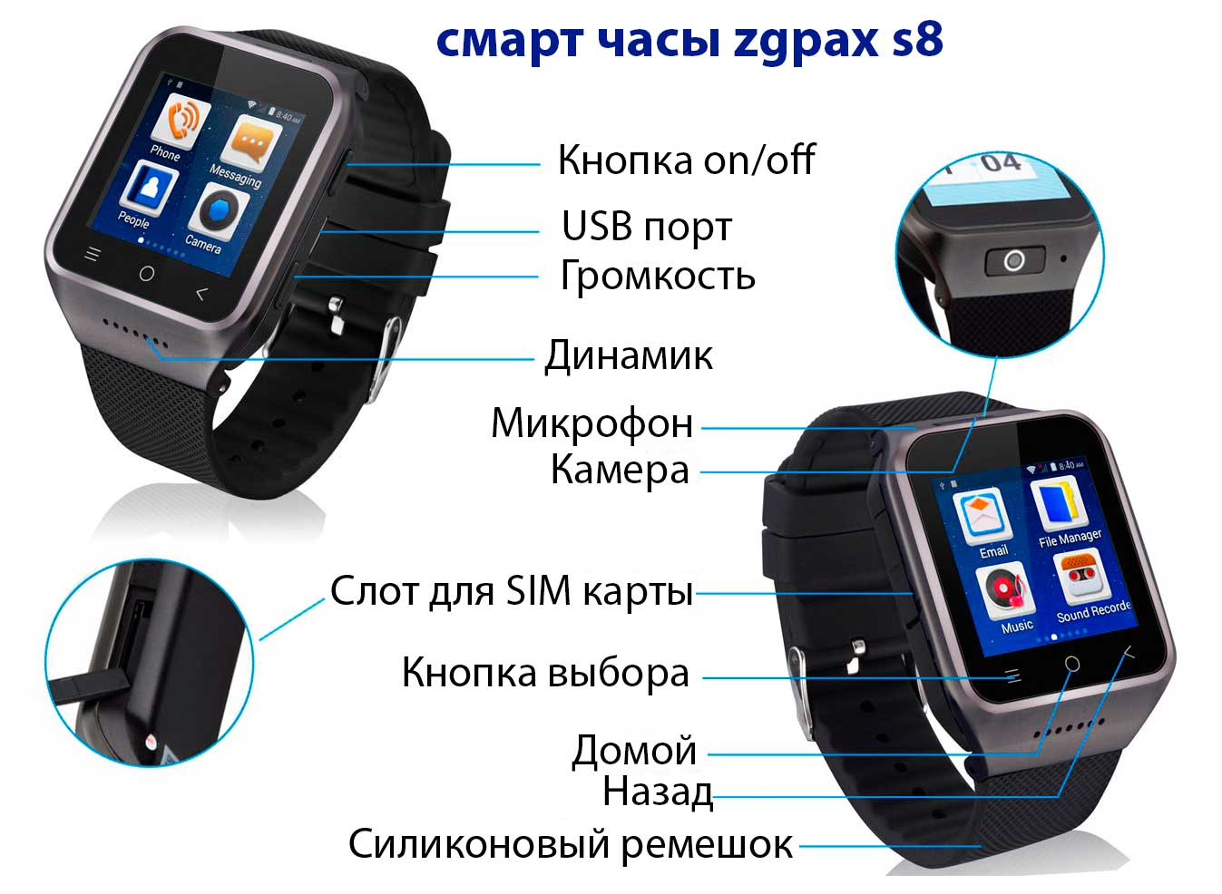 смарт часы zgpax s8