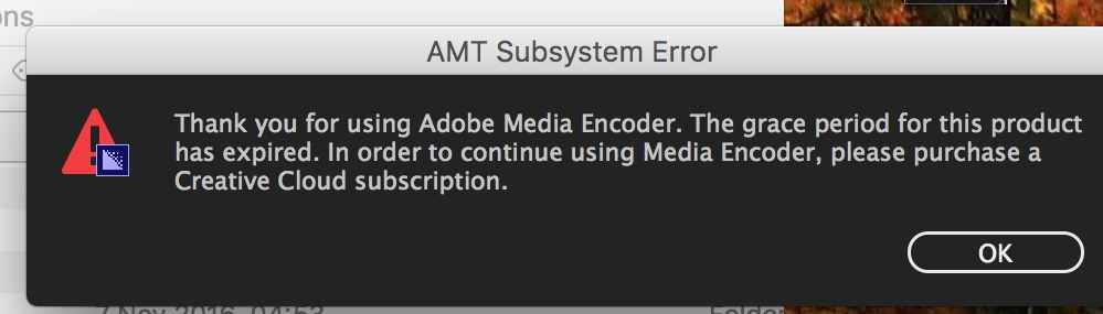 amt subsystem error adobe media encoder cc