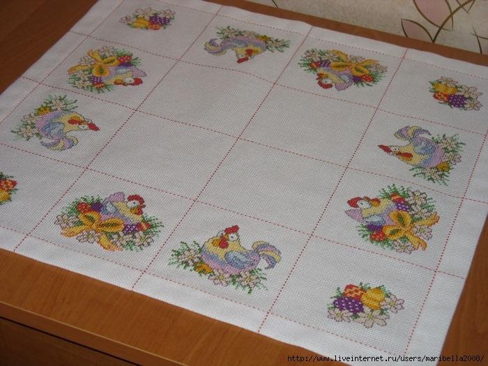 Пасхальная вышивка крестом скатерти