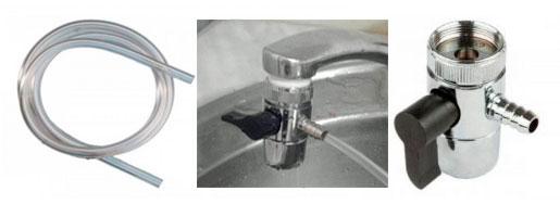 переходник на кран и трубка для подключения к  холодильнику