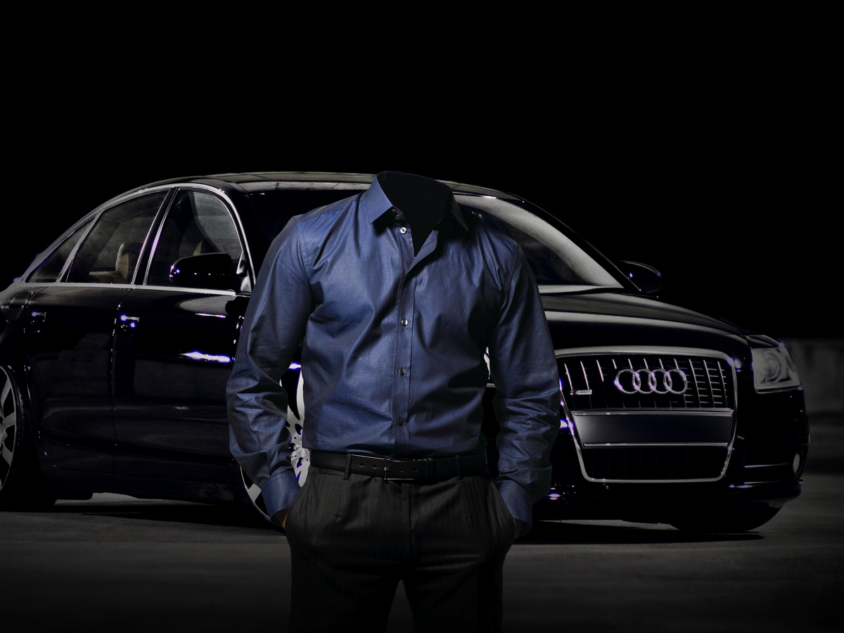 Шаблон для фотомонтажа - Стильный мужчина с хорошим автомобилем
