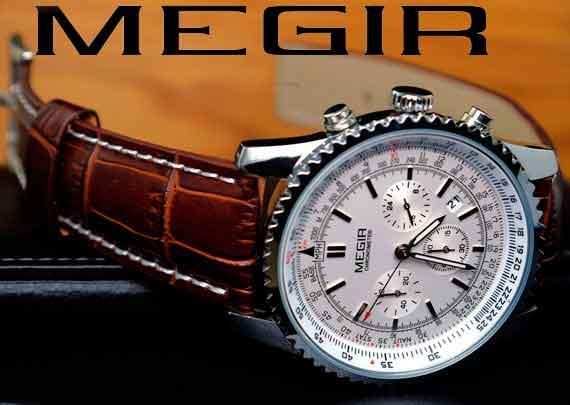 часы megir кожаный ремешок