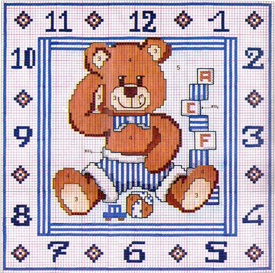 схема вышивки медвежонка детское