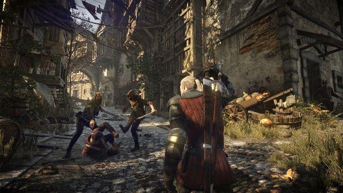Снимок экрана игры The Witcher 3: Wild Hunt - разбойники напали на человека