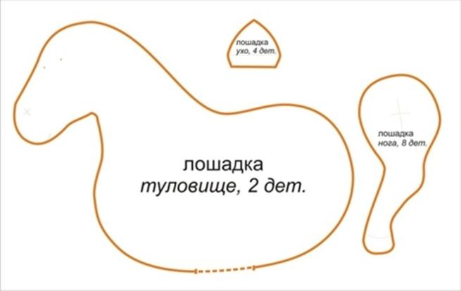Выкройка пони: Лошадка тильда