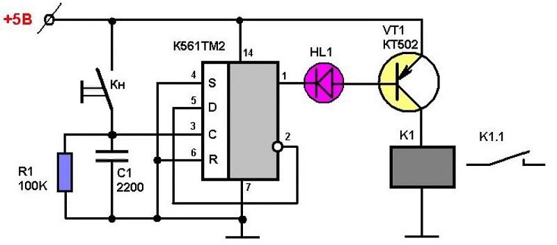 Модуль управления двумя независимыми нагрузками от двух кнопок без фиксации на cd4013(d-триггер)