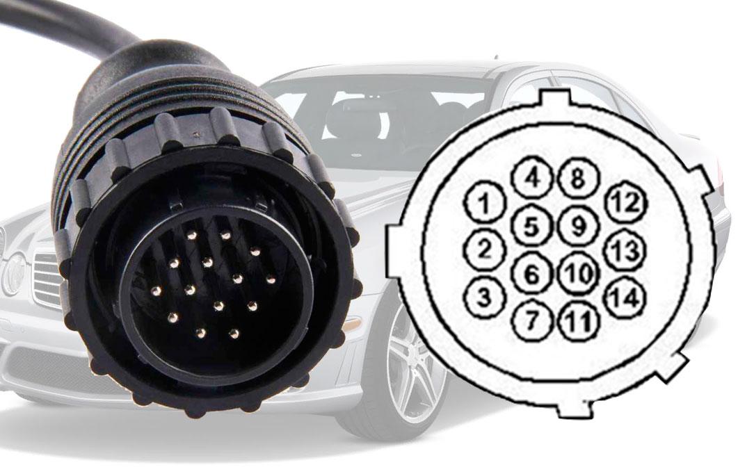 Распиновка контактов круглого разъем 14 pin разъема автомобилей Mercedes