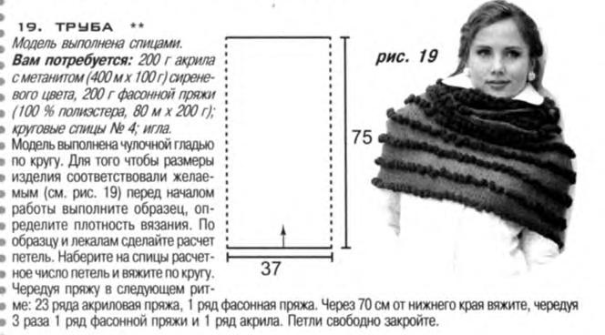 Шарф-труба спицами (схема)