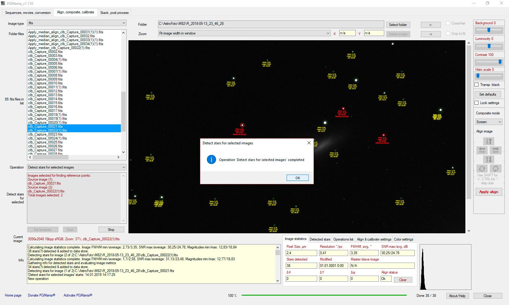 detecting stars and image statistics