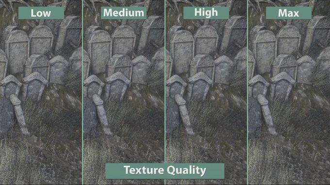 Сравнение качества текстур в игре Dark Souls 3 при различных настройках графики
