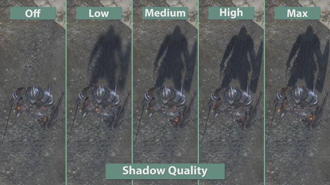Качество теней в игре Dark Souls 3 при разных настройках системы