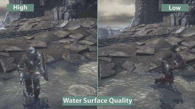 Сравнение качества поверхности воды в игре darl souls 3 при разных настройках графики
