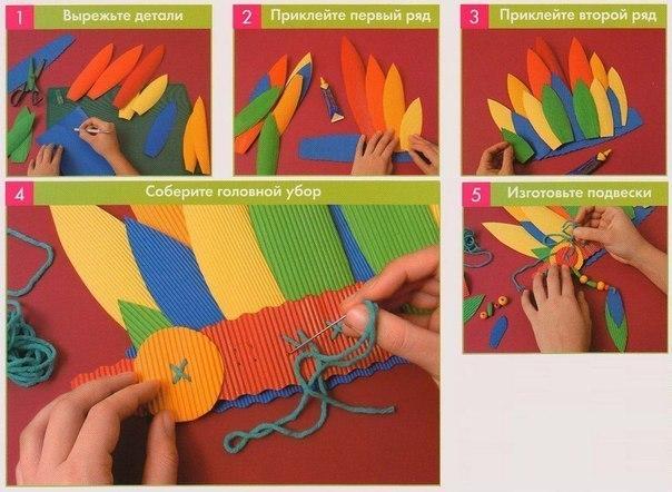 Как сделать из бумаги костюм индейца